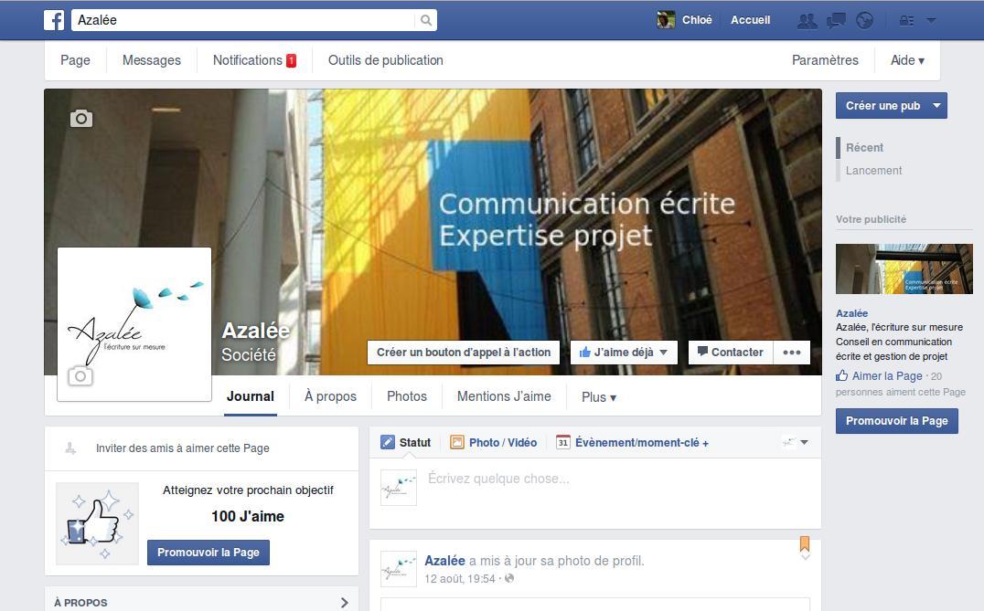 la page Facebook d'Azaleecrit.com