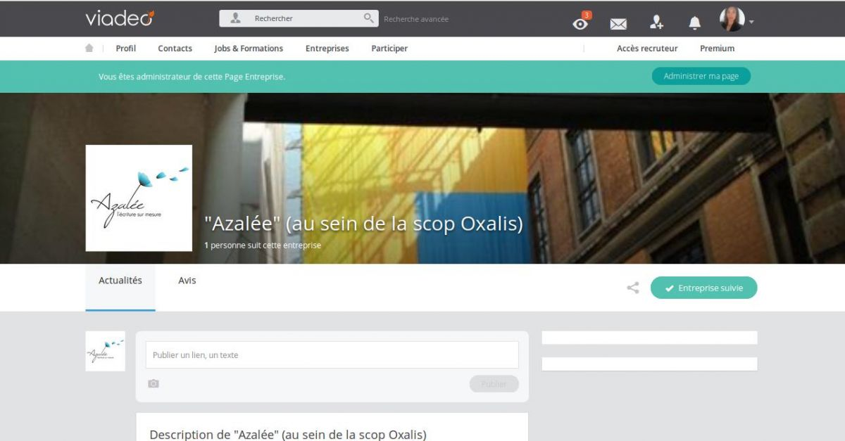 Page Viadeo d'azaleecrit.com