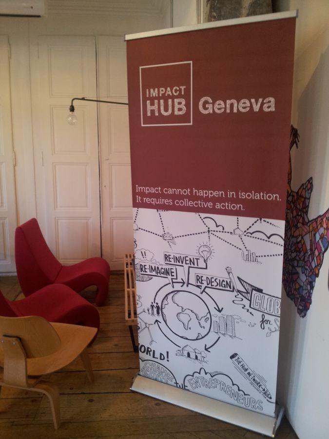 panneau du slogan de Impact Hub
